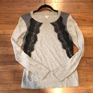 J. Crew lace embellished sweater